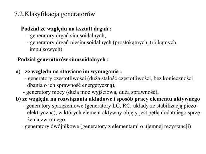 7.2.Klasyfikacja generatorów
