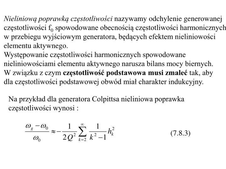 Nieliniową poprawką częstotliwości