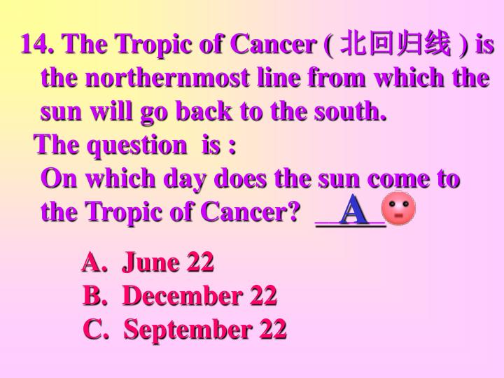 14. The Tropic of Cancer (
