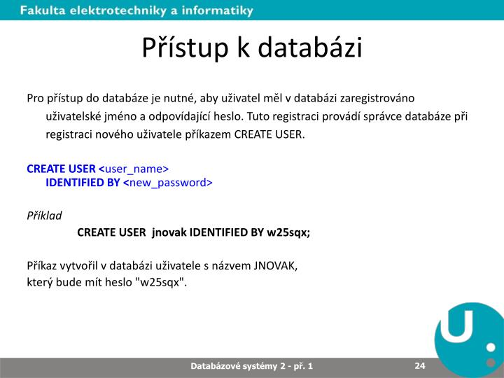 Přístup k databázi