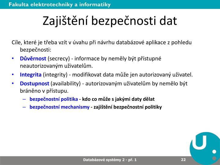 Zajištění bezpečnosti dat