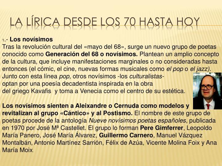 LA LÍRICA DESDE LOS 70 HASTA HOY
