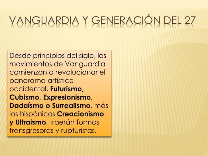 Vanguardia y generación del 27