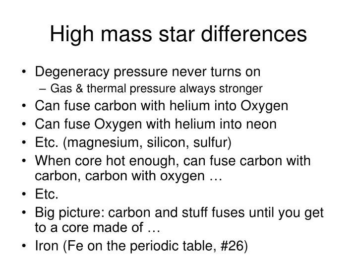 High mass star differences