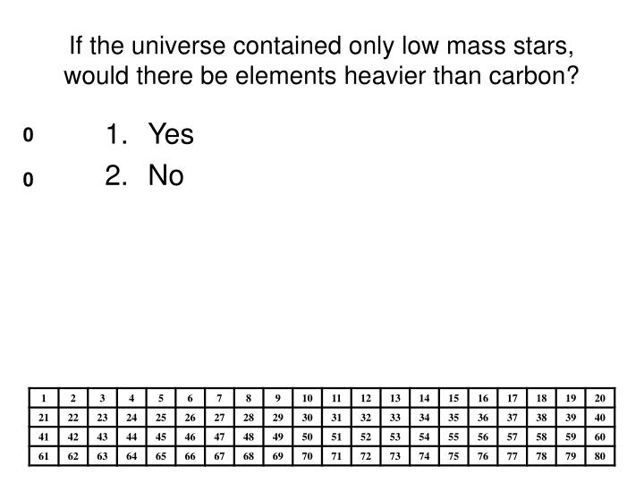 If the universe contained only low mass stars, would there be elements heavier than carbon?