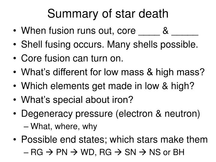 Summary of star death