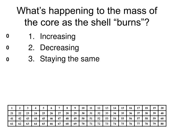 "What's happening to the mass of the core as the shell ""burns""?"
