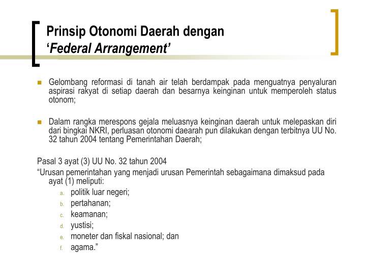 Prinsip Otonomi Daerah dengan