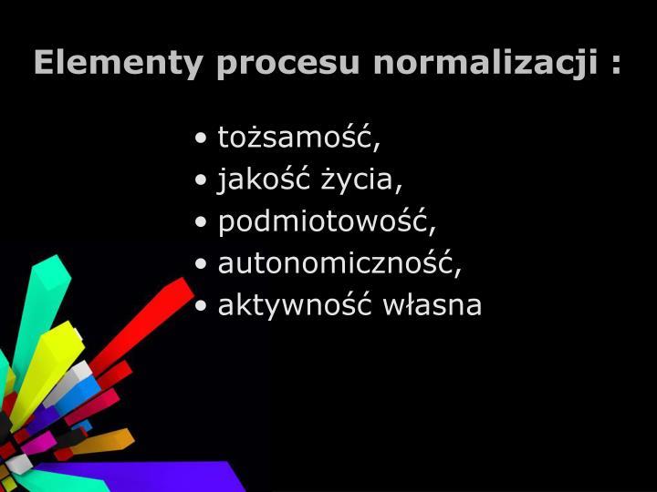 Elementy procesu normalizacji :