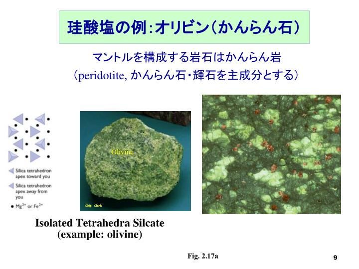 珪酸塩の例:オリビン(かんらん石)