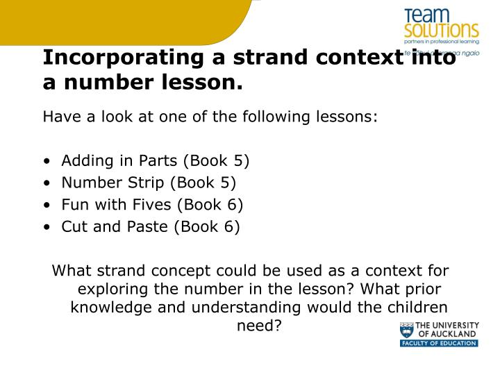 Incorporating a strand context into a number lesson.