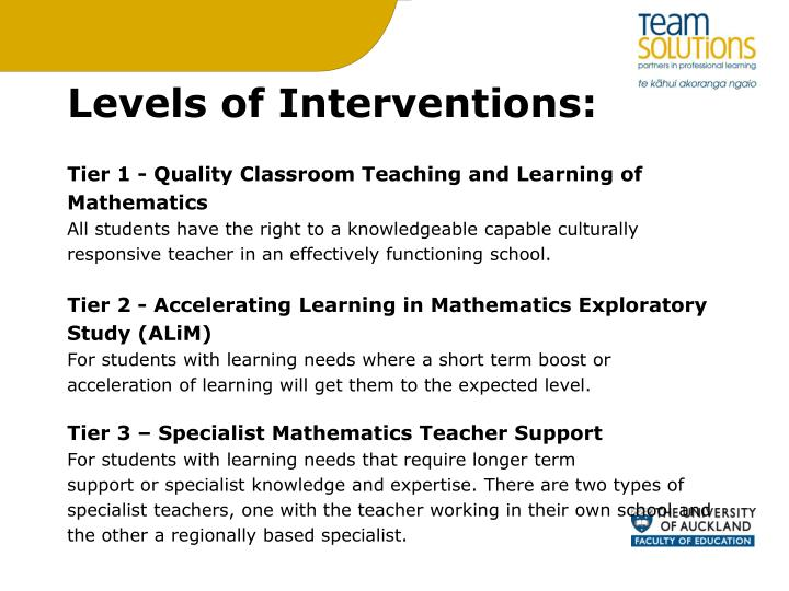 Levels of Interventions: