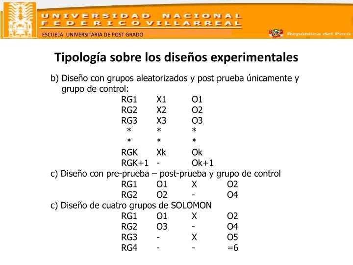 Tipología sobre los diseños experimentales