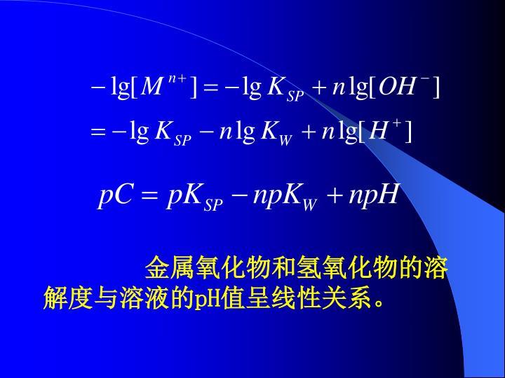 金属氧化物和氢氧化物的溶解度与溶液的