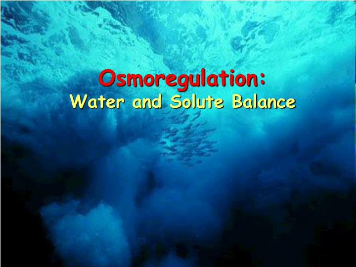 Osmoregulation: