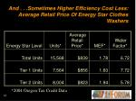 and sometimes higher efficiency cost less average retail price of energy star clothes washers