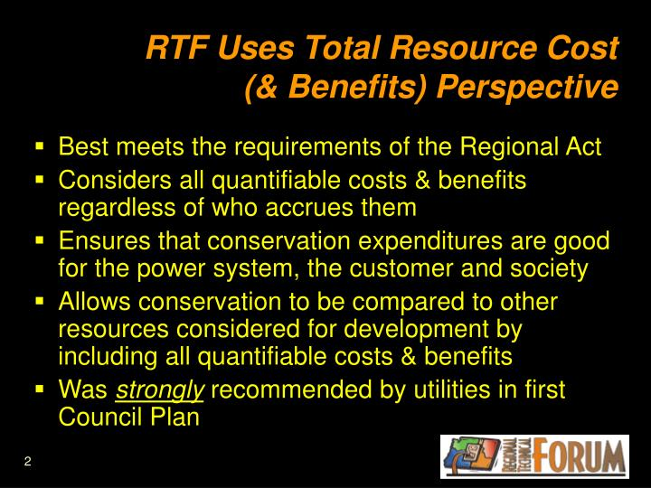RTF Uses Total Resource Cost