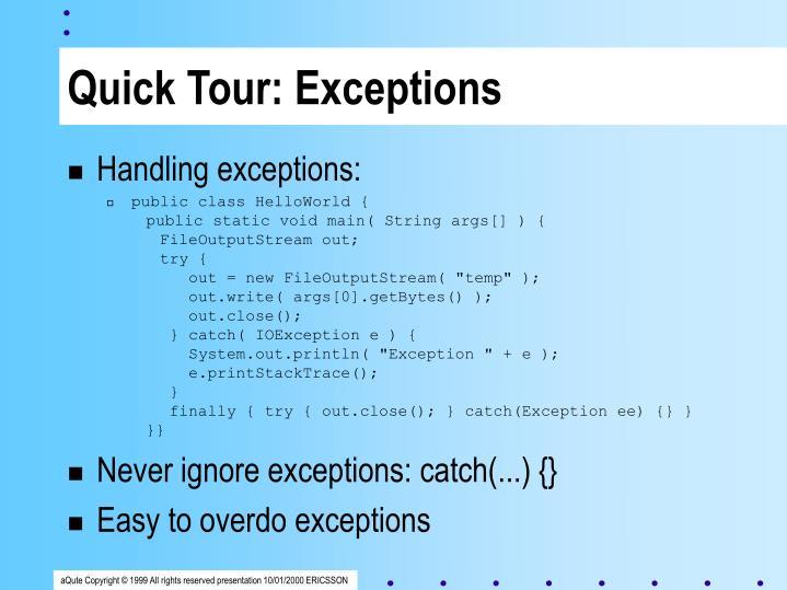 Quick Tour: Exceptions
