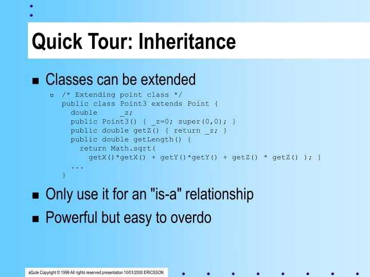 Quick Tour: Inheritance