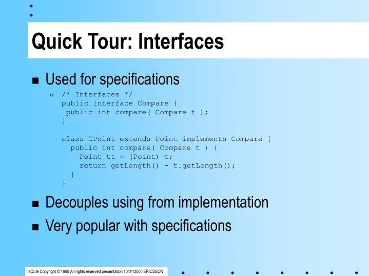 Quick Tour: Interfaces