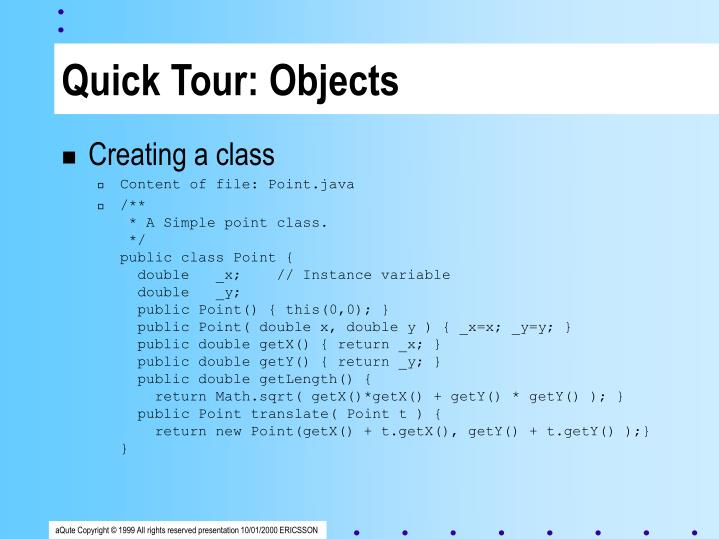 Quick Tour: Objects