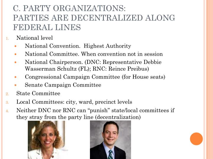 C. PARTY ORGANIZATIONS: