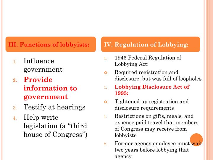 III. Functions of lobbyists:
