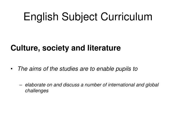 English Subject Curriculum