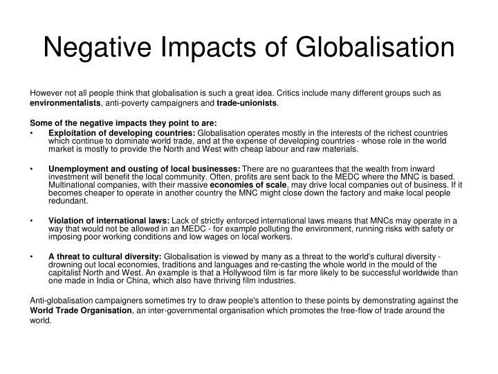 Negative Impacts of Globalisation