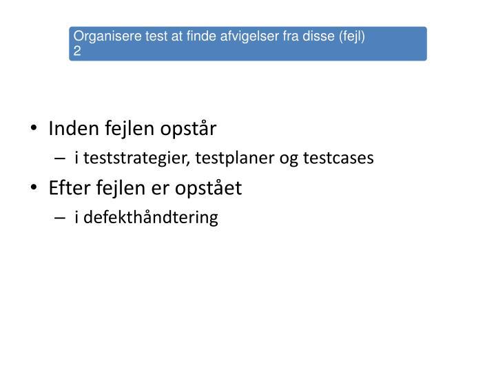 Organisere test at finde afvigelser fra disse (fejl