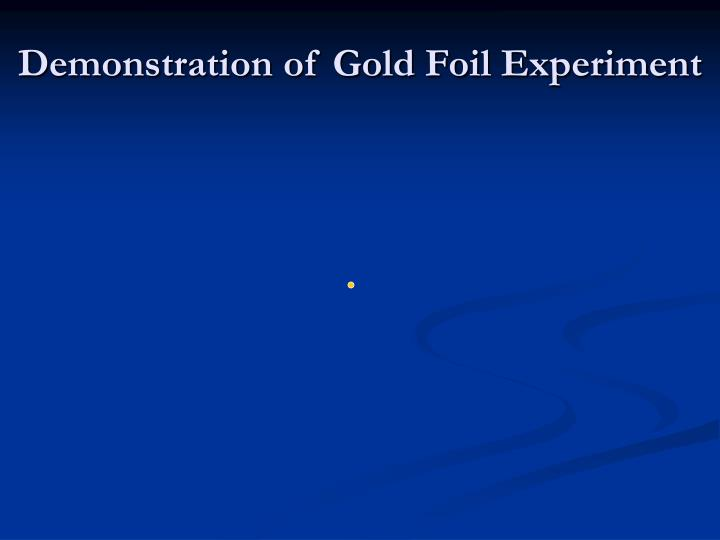 Demonstration of Gold Foil Experiment