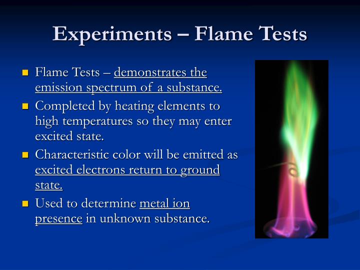 Experiments – Flame Tests