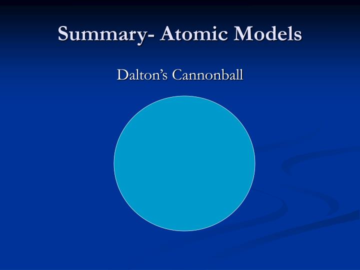 Summary- Atomic Models