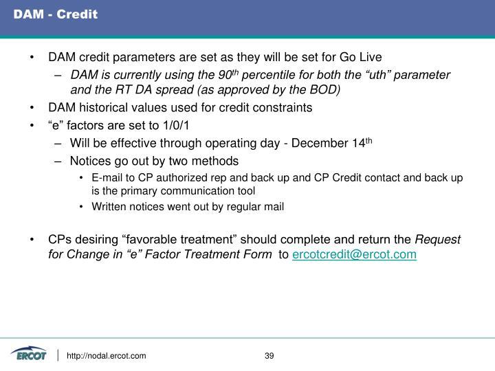 DAM - Credit