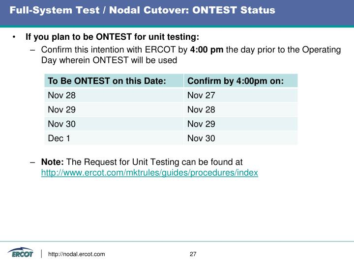 Full-System Test / Nodal Cutover: ONTEST Status
