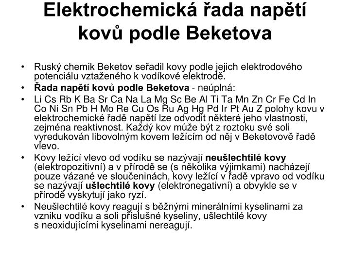 Elektrochemická řada napětí kovů podle Beketova