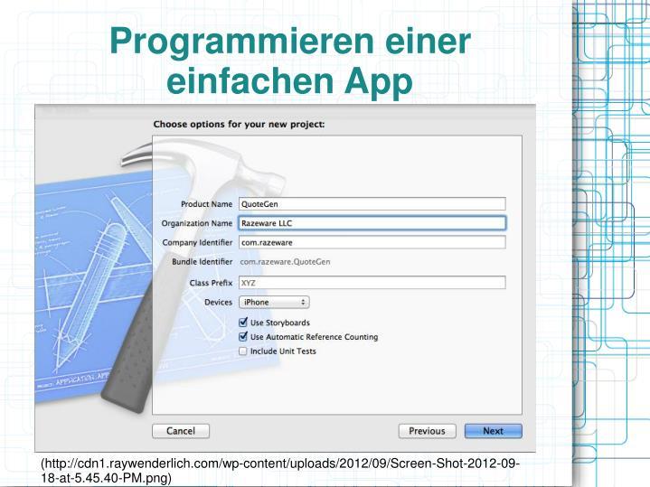 Programmieren einer einfachen App