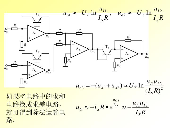 如果将电路中的求和电路换成求差电路,就可得到除法运算电路。