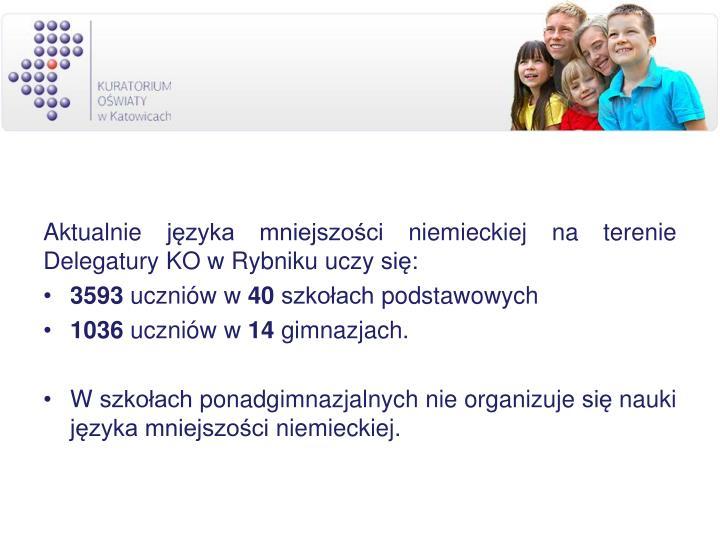 Aktualnie języka mniejszości niemieckiej na terenie Delegatury KO w Rybniku uczy się: