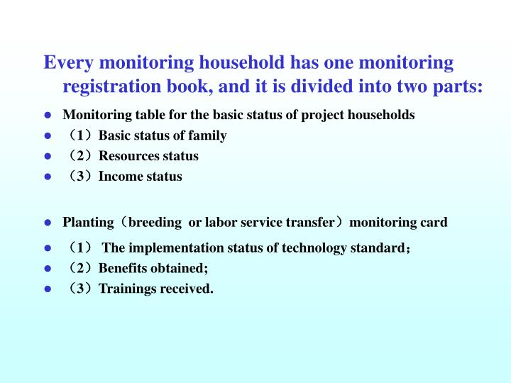 Every monitoring household has one monitoring registration book, and it is divided into two parts: