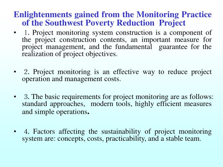 Enlightenments gained from the Monitoring Practice of the Southwest Poverty Reduction  Project
