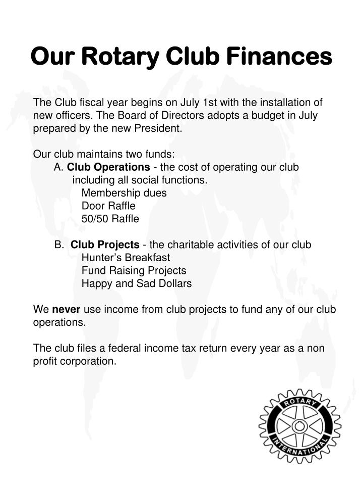 Our Rotary Club Finances