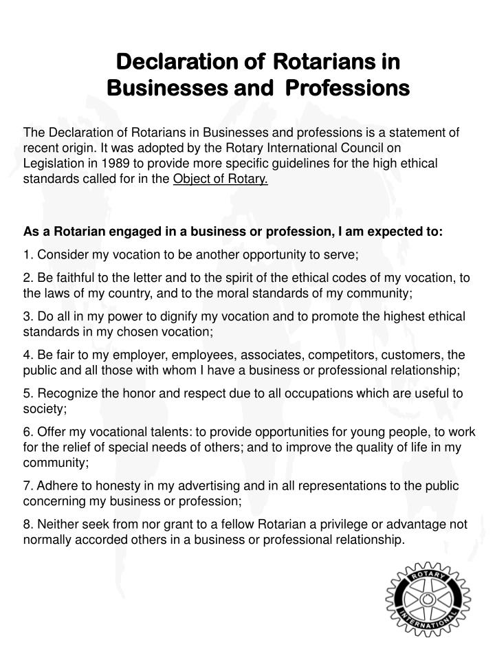 Declaration of Rotarians in Businesses and  Professions