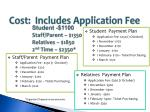 cost includes application fee
