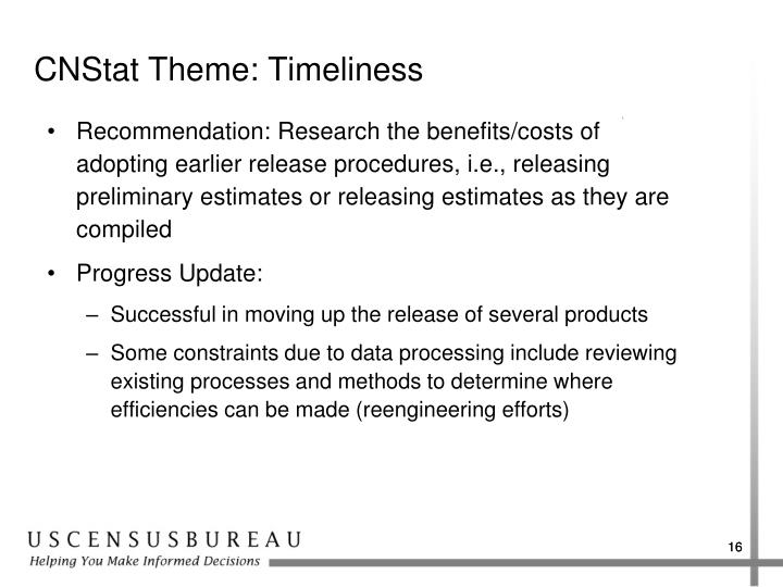 CNStat Theme: Timeliness