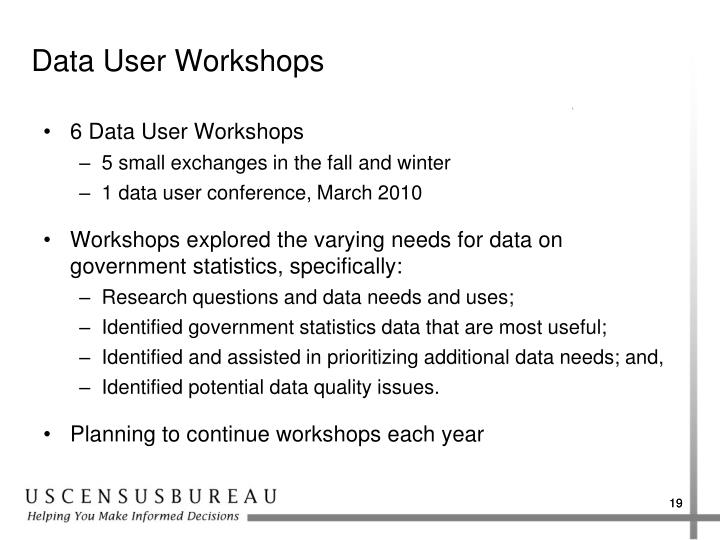 Data User Workshops