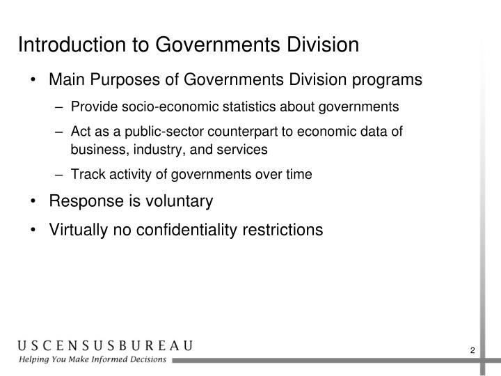 Introduction to governments division