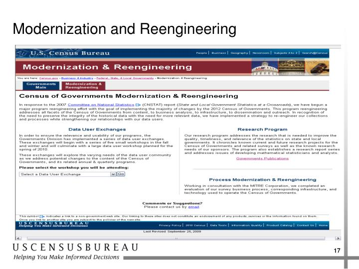Modernization and Reengineering