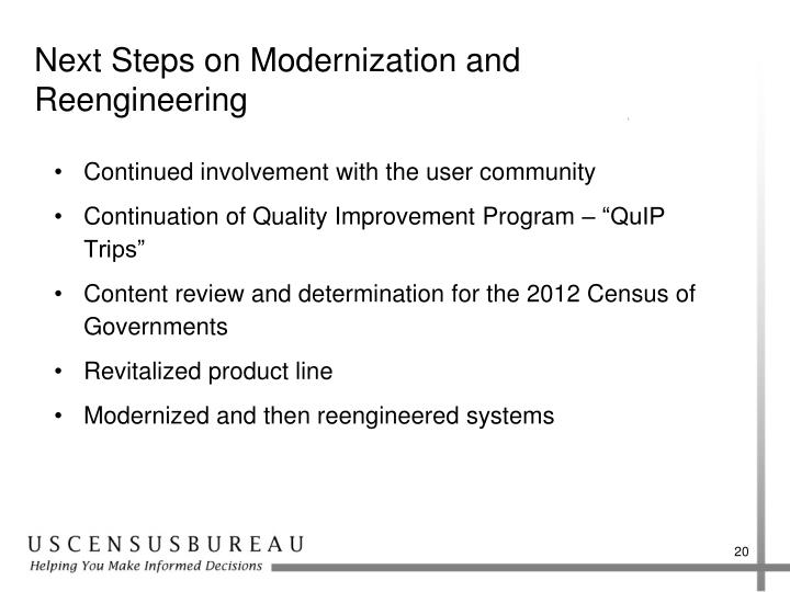 Next Steps on Modernization and Reengineering