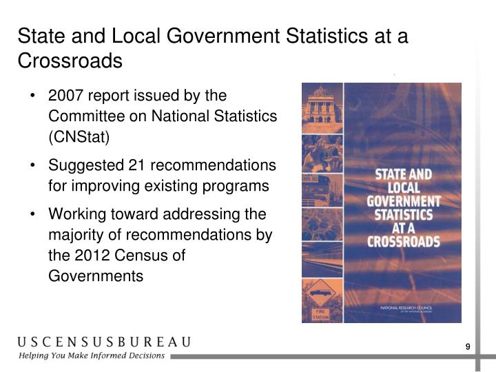 State and Local Government Statistics at a Crossroads